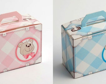 DIY Baby Favour Box Teddy Bear - Blue - Pink - Shower - Christening - Suitcase Shape