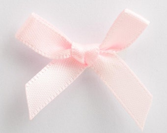 Satin Ribbon Pre Tied 3cm Bows - 100 Pack - Pale Baby Pink
