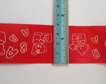 NEW 3M x 40mm Bear Printed Red Ribbon 3M
