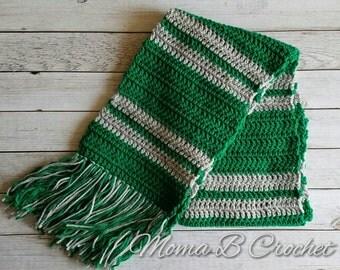 Crochet Harry Potter Scarf, Slytherin House Scarf, Slytherin Scarf, Harry Potter Scarf, Slytherin House Scarf
