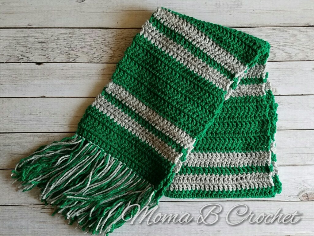 Harry Potter Scarf Knitting Pattern Slytherin : Crochet Harry Potter Scarf Slytherin House Scarf Slytherin