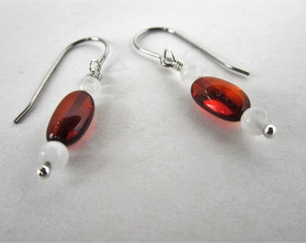 Baltic Amber and Moonstone Earrings