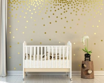 """Metallic Gold Wall Decals Polka Dots Wall Decor - 1"""" Inch, 1.5"""",2"""",2.5"""",3"""", 3.5"""", 4""""  Inches Circle Vinyl Decals Dot Wall stickers"""
