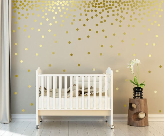 "Metallic Gold Wall Decals Polka Dots Wall Decor - 1"" Inch, 1.5"",2"",2.5"",3"", 3.5"", 4""  Inches Polka Dot Wall stickers Decals"