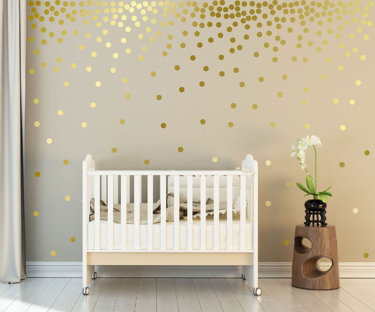 Metallic Gold Wall Decals Polka Dots Wall Decor - 1 Inch, 1.5,2 ...
