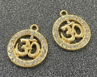 5pcs Rhinestone Metal OM Charms, Zen Charms,Buddha,Jewelry and Craft Supplies,Spiritual Hinduism
