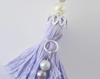Lavender beaded tassel key chain with embroidery floss