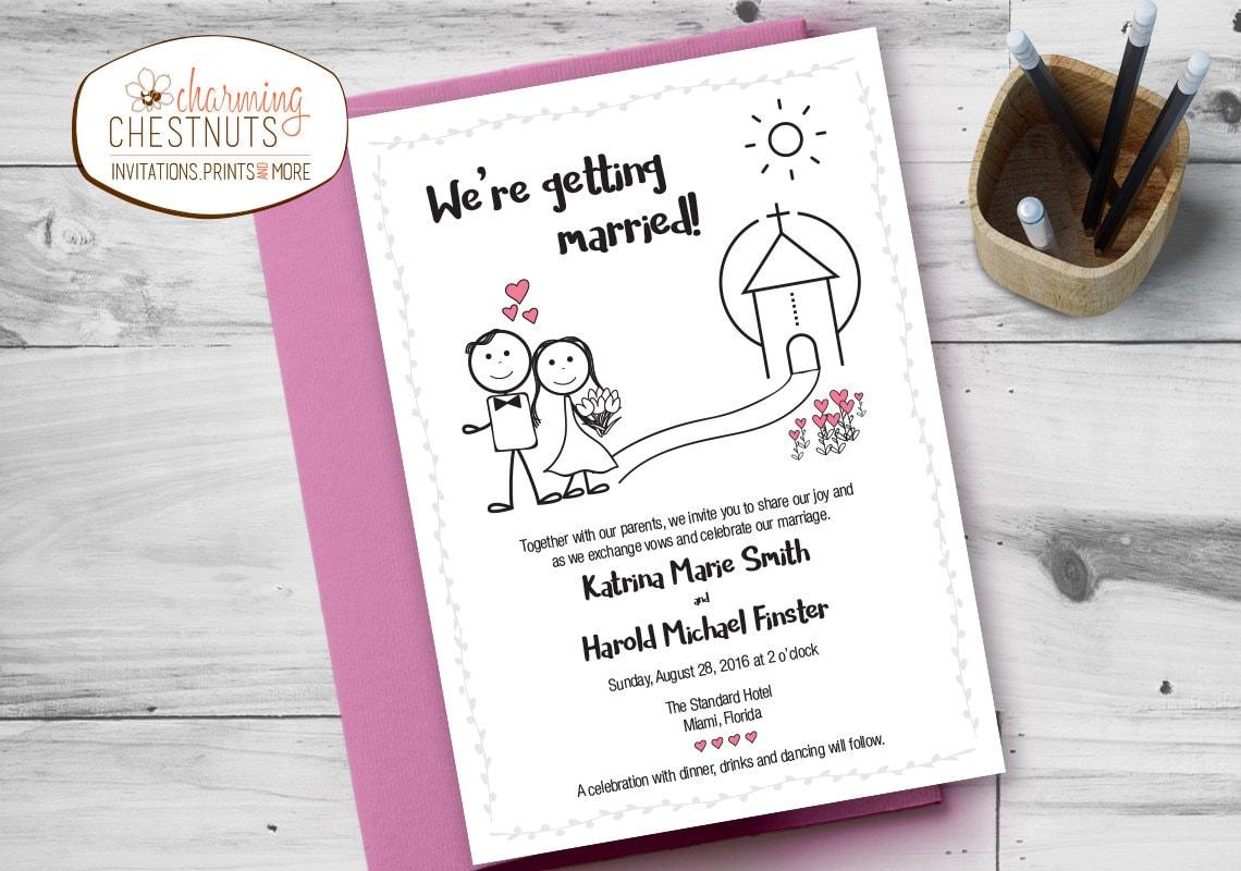 Cartoon Wedding Invitation Set Stick Figure Printable
