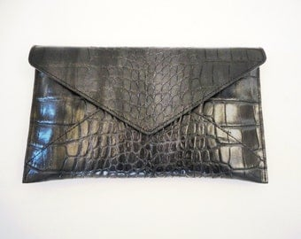 Mock Croc Embossed Leather Pouch