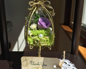 Preserved Flower Wire Cage (with card holder)