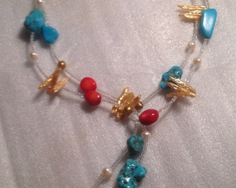 Turquoise, Coral & Pearl Necklace