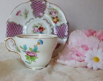 Vintage Pink Floral Mismatched Teacup and Saucer, Teacup by Foley Bone China England, Saucer by Trimont China Japan