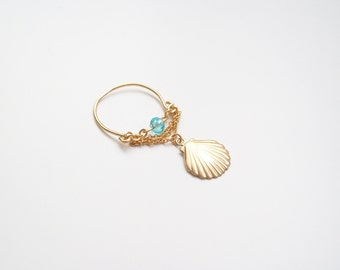 Ring chains and gold-plated shell 14 k