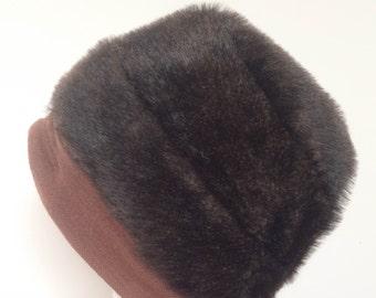 1970s Brown Mohair Hat Vintage