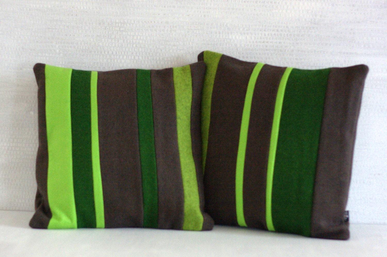 Pillows Set Of 2 Green Stripes Pillow Cases Neon Green