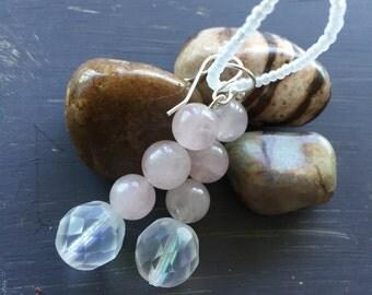 Roma dangle earring, rose quartz and Czech glass balls.