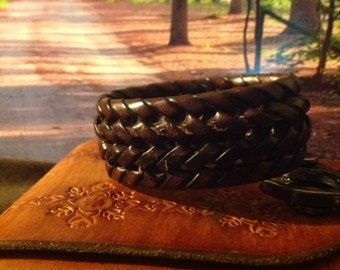 Thick Braided Brown Leather Bracelet