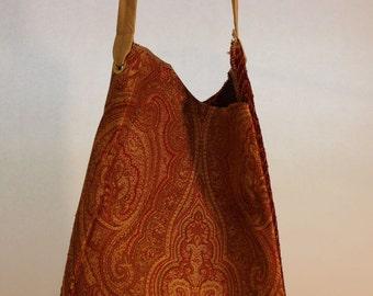 Large Fabric Bag in Burnt Orange Paisley Print Item #B51