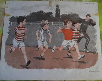 Old poster House of teachers France 1970 Rare Athletics children run, the dog and the cat looks