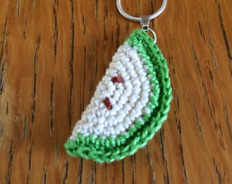 Green Apple Crocheted Pendant Necklace