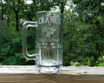 Etched Glass Beer Mug