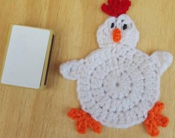crochet chicken coaster