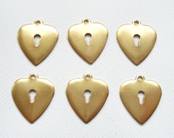 6 Raw Brass Heart with Keyhole Charms