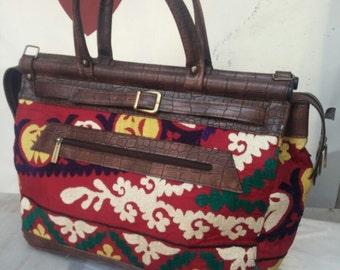 Briefcase style handmade vintage Suzani bag