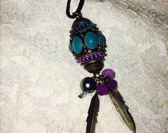 Charm Necklace With Beads & Feathers!