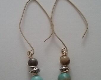 Amazonite gold earrings, Boho inspired amazonite dangle earrings, amazonite earrings,semiprecious gemstones earrings, vintage style