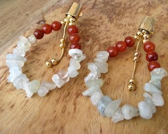 Agate and Jasper Stone Earrings