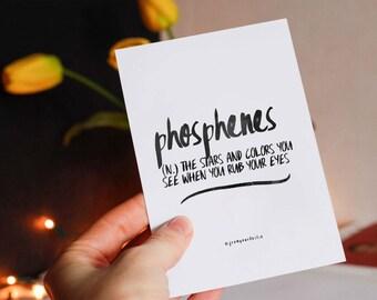 Phosphenes - definition art, word print, poster print, wall art, printable art, printable quotes,