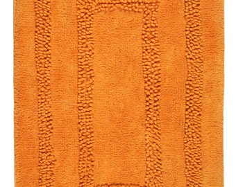 Hand Made Orange Cotton Aena Bath Rug/Bath Mat(80cm x 50cm),2 Piece