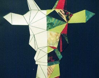 Giraffe in paper and fabric