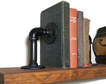 Set of Industrial Pipe Bookends, Steampunk Bookends, Black Iron Pipe Book Accessories, Rustic Book Stops