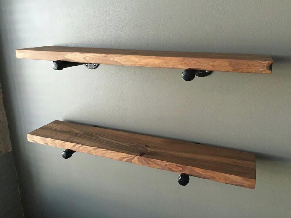 Wood Floating Shelves Kitchen Pipe Floating Shelf Industrial