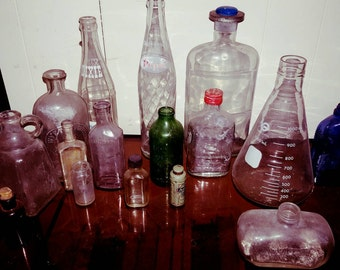 Collection of Vintage Medicinal bottles and others