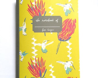 Tropical Notebook, Bird Notebook, Hummingbird and Protea Flowers, Tropical Flower Prints Yellow Notebook, Bright  Notebook, A5 Grid Notenook