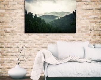 Canvas Print, Landscape Photography, Mountains, Colorado, Fog, Wall Decor, Blue, Fine Art Photography, Photography - Fog Over The Rockies
