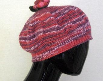 Purple warm beret Knit flower cap Yarn beanie Womens accessories Winter beanie Teen golf bonnet Felt knit brooch Adult flat headwear