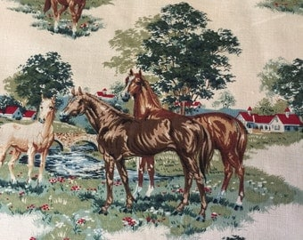 Vintage Horse theme fabric
