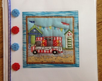 Hand Quilted Card Seaside Summer View Beach Ice-cream Van