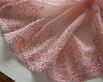 "5 yard 22cm 8.66"" wide pink mesh tulle gauze embroidery tapes lace trim ribbon gv5ty free ship"