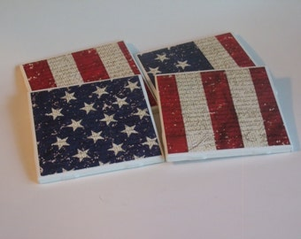 Americana Ceramic Tile Coaster Set