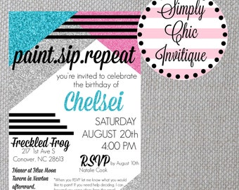 Paint Party Invitation Adult Painting Party Invite Paint Sip Repeat Invite