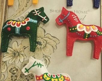 Swedish Dala Horse Ornaments