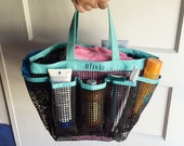 Personalized mesh shower tote, water proof organizer, holds shampoo, toiletries, camp