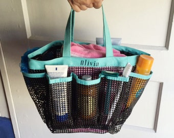 Personalized Mesh Shower Tote | Water Proof Organizer | Holds Shampoo | Toiletries | Great for College, Summer Camp, The Beach