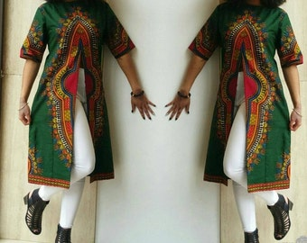 Dashiki African Print Top// African print tops, Dashiki tops,  Slitted top, Long top, Women blouses