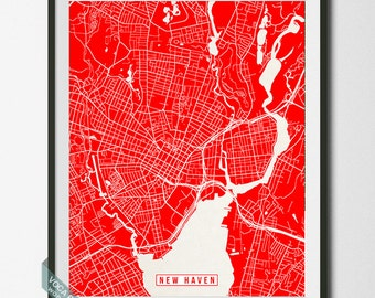 New Haven Print, Connecticut Poster, New Haven Poster, New Haven Map, Connecticut Print, Street Map, Connecticut Map, Christmas Gift